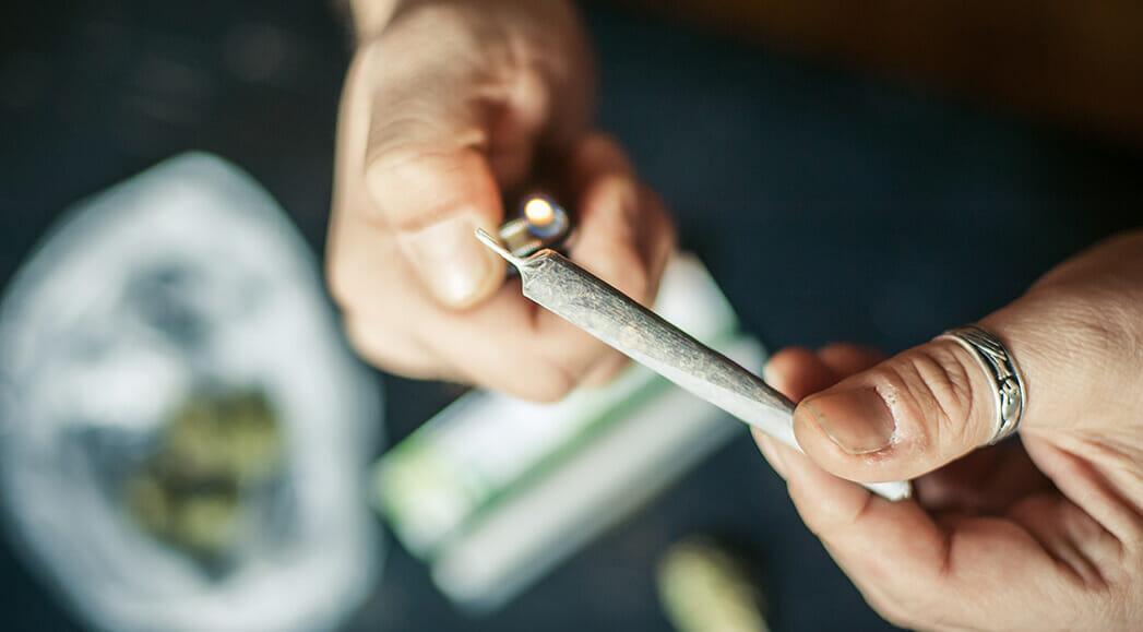 lighting a hemp joint