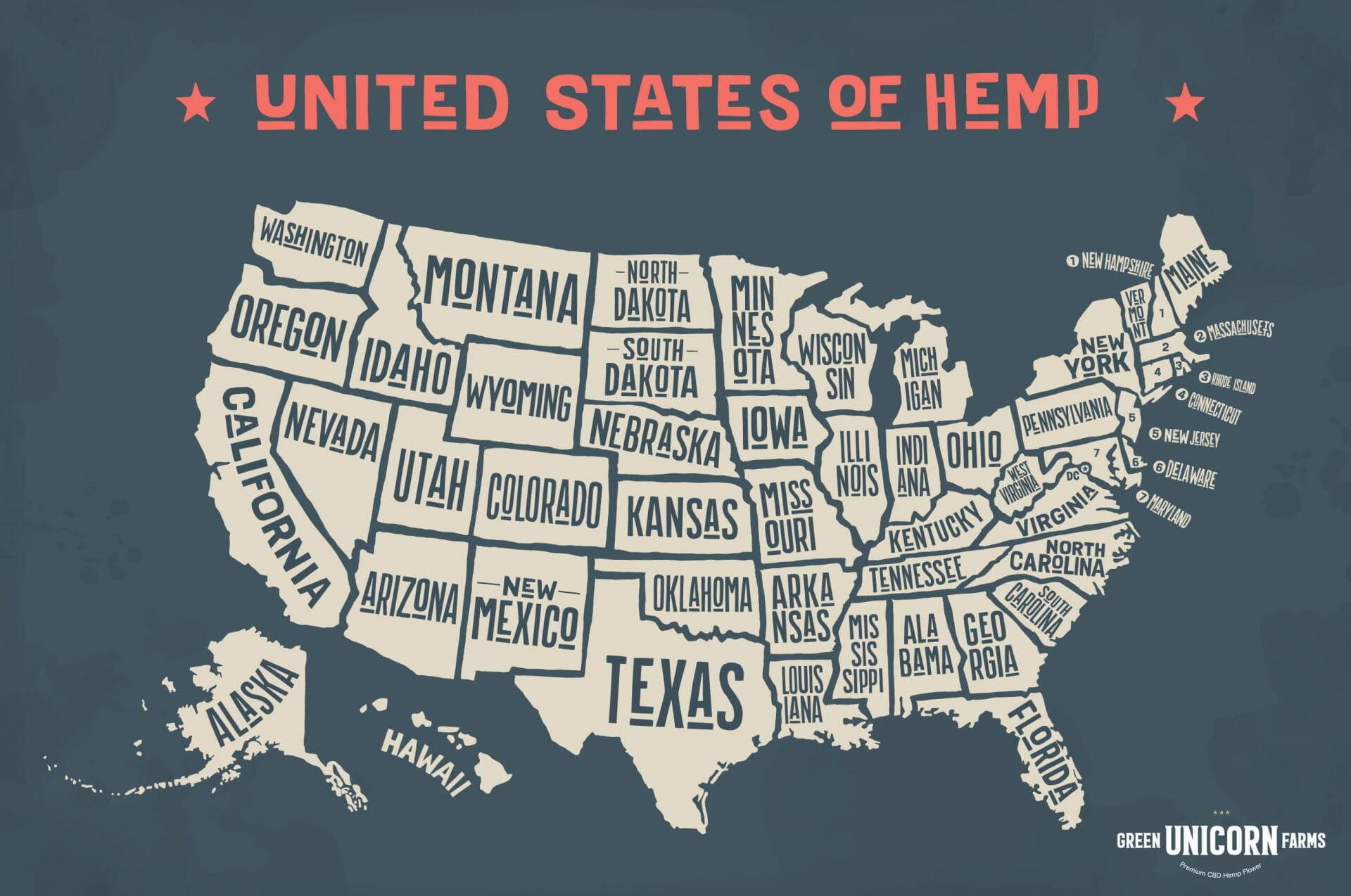 Map of legal hemp states in the