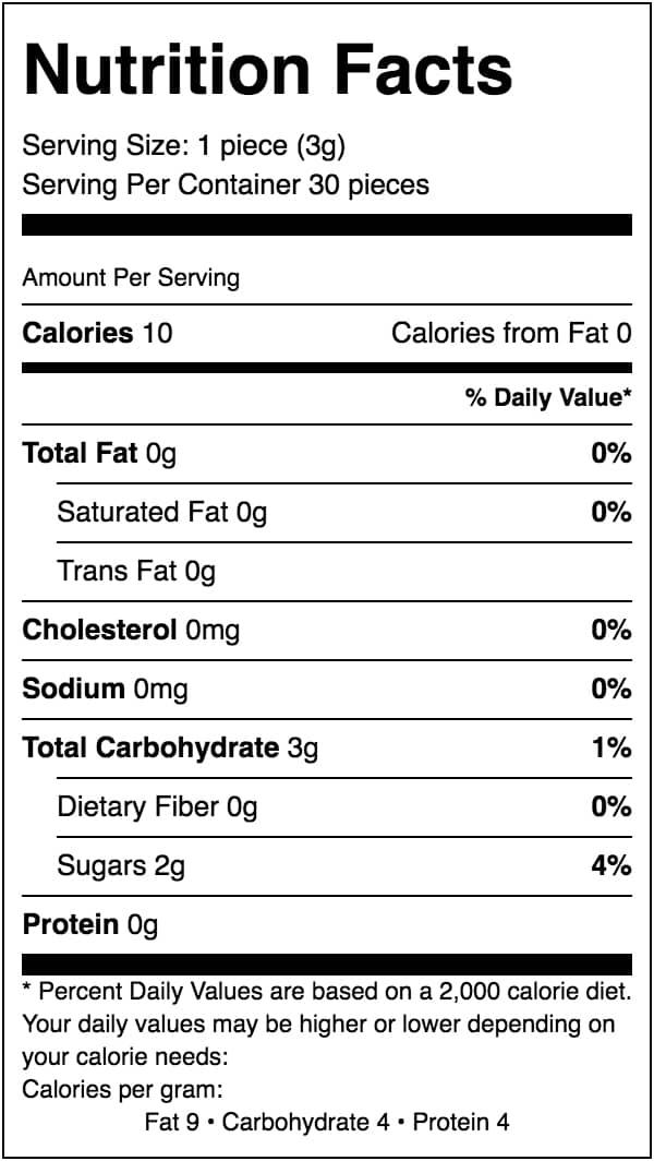 Nutritional Facts Sleep Gummies Cubes
